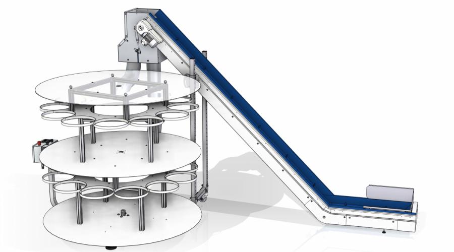 Transportband met buffersysteem double stage voor zakken