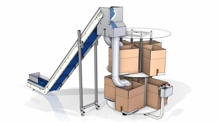 Transportband met buffersysteem CPS double stage voor dozen